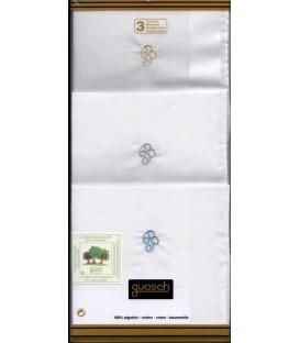 Pack 3 pañuelos inicial bordada para caballero Guasch